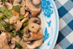 Simple cooked fresh mushroom dish Stock Photography