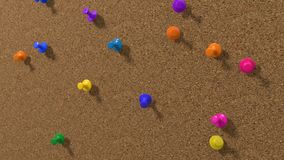 Simple cork pinboard with pins, 3d illustration. Royalty Free Stock Photos