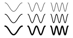 Simple cosine of x function graph. Wave with one, two and three periods, 3 stroke weight versions. Simple cosine of x function graph. Wave with one, two and vector illustration