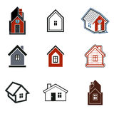 Simple cottages collection, real estate and construction theme. Royalty Free Stock Photo