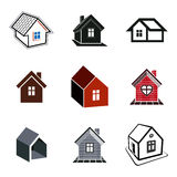 Simple cottages collection, real estate and construction theme. Royalty Free Stock Images