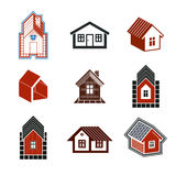 Simple cottages collection, real estate and construction theme. Royalty Free Stock Photos