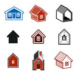 Simple cottages collection, real estate and construction theme. Stock Photos