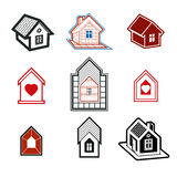 Simple cottages collection, real estate theme. Stock Photography