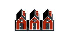 Simple cottages with heart symbo, love and romance idea. Houses Stock Photography