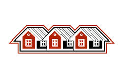 Simple cottages vector illustration, country houses Stock Images