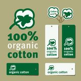 Simple cotton label. Set of simple labels for cotton clothes Stock Photography