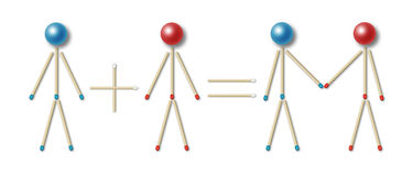 Simple couple equation. Simple equation of a couple represented by little men made of blue and red matches and balls, man plus woman equals couple vector illustration