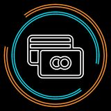 Simple Credit Card Thin Line Vector Icon vector illustration