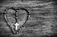 Simple Cross Inside Heart Shape - B&W Stock Photo