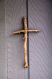 A simple cross made of tree branches Stock Photos