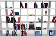 Simple Cupboard With Office Objects On The Shelves Royalty Free Stock Photo