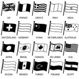 Simple curved flags of different country collection Royalty Free Stock Photos