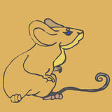Simple cute brown mouse character stock photo