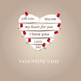 Simple cute card on valentine's day Stock Images