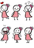 Simple cute cartoon girl. Different expressions of a cute cartoon girl Stock Image