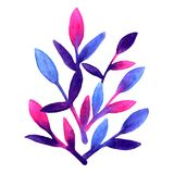 Simple and cute floral pattern. Pink, blue and violet spring leaves hand painted with watercolor Nature drawing leaf on. Isolated white background. Art bright vector illustration