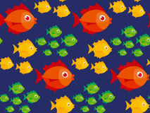 Simple cute little fish colorful seamless pattern. Coral fish in deep blue background vector illustration Royalty Free Stock Photography