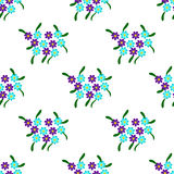 Simple cute pattern in small-scale blue and purple flowers Royalty Free Stock Photography