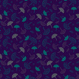 Simple cute seamless pattern with dark beige and green and lilac leaves. Ornament with leaves. Floral seamless background for dres Royalty Free Stock Photography