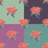 Simple cute seamless pattern. With doodle flowers. Four color variants in one Royalty Free Illustration