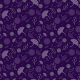 Simple cute seamless pattern with violet and lilac leaves. Ornament with flowers. Floral seamless background for dress, manufactur Royalty Free Stock Image