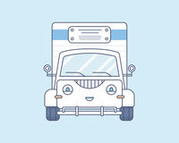 Simple cute smiling truck on a light blue Stock Photography