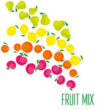 Simple cute summer fruit icon set Stock Photos