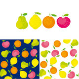 Simple cute summer fruit icon set Royalty Free Stock Photos
