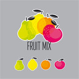 Simple cute summer fruit icon set Stock Image