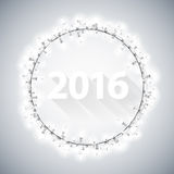 Simple 3D 2016 with Christmas Lights. Poster for Your Celebratory Design royalty free illustration