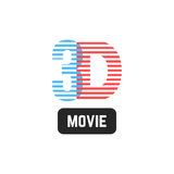 Simple 3d striped icon. Concept of cinematography, filmmaking, eyesight, widescreen, perception, binocular vision. isolated on white background. flat style Stock Photo