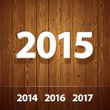 Simple 3D 2015  on Wooden Background Stock Photos