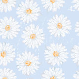 Simple daisy flowers seamless pattern in naive style Royalty Free Stock Photos
