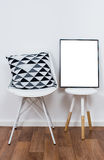 Simple decor objects and art poster mock-up Stock Images