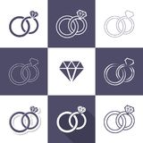 Simple decorative wedding rings icons stock illustration