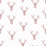 Simple deer silhouettes and stars seamless vector background. Royalty Free Stock Images