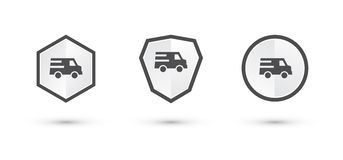 Simple delivery labels shield Stock Images