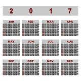 Simple demo 2017 calendar template. Stock vector Stock Illustration