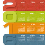 Simple design calendar 2016 year vector design template. 12 mounts from January-December 2016 stock illustration