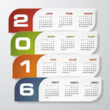 Simple design calendar 2016 year vector design template. 12 mounts from January-December 2016 Royalty Free Stock Photo