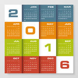 Simple design calendar 2016 year vector design template. Stock Images