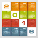 Simple design calendar 2016 year vector design template. Royalty Free Stock Photo