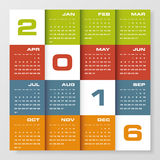 Simple design calendar 2016 year vector design template. 12 mounts from January-December 2016 vector illustration