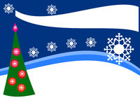 Simple design for the Christmas offer of goods or flyer, landscape, with a decorated tree and snowflakes stock images