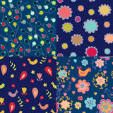 Simple design floral seamless pattern set Stock Photos