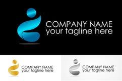 Abstract people metalic logo. Simple design logos Royalty Free Stock Photo