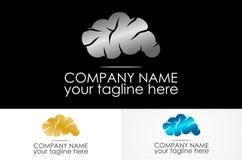 Cloud brain metal logo. Simple design logos Stock Images