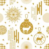 Trendy New Year background. Seamless vector pattern with fir trees, Christmas balls, snowflakes and abstract geometric elements. Simple design for packaging Stock Image
