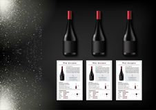 A simple design of realistic bottles of wine and wine cards with descriptions and characteristics of the wine on a black Stock Image